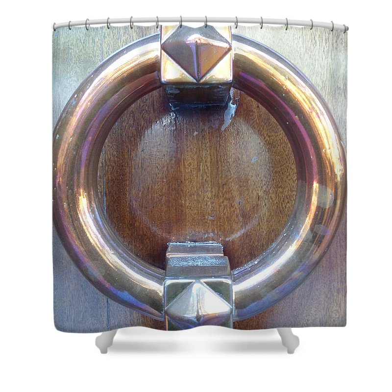 Door Shower Curtain featuring the photograph Polished Door Knocker by Marwan George Khoury
