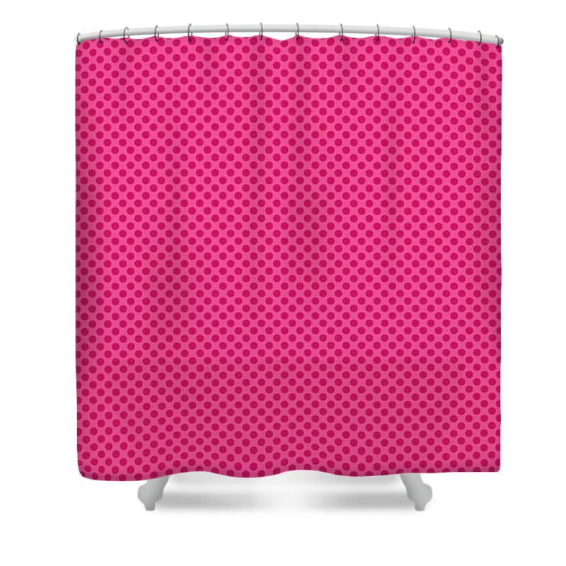 Polka Dots Shower Curtain Featuring The Digital Art In French Pink Background 30