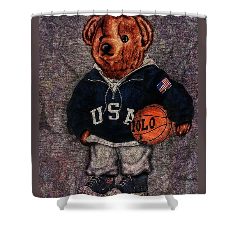 Polo Shower Curtain Featuring The Photograph Bear Sport By Eddie G