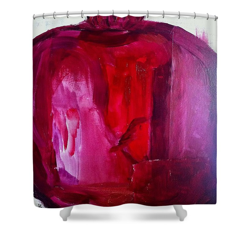 Pomegranate Shower Curtain featuring the painting Pomegranate by Solenn Carriou