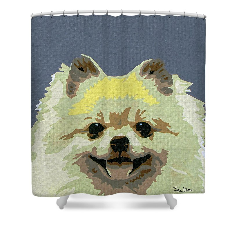 Pomeranian Shower Curtain featuring the painting Pomeranian by Slade Roberts