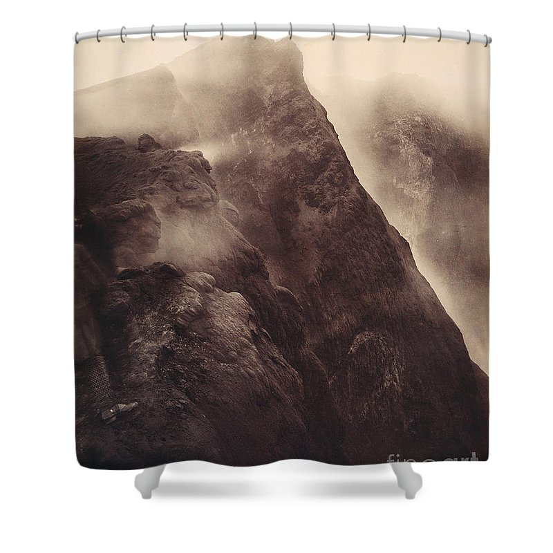 1892 Shower Curtain featuring the photograph Pompeii, Mt Vesuvius by Granger