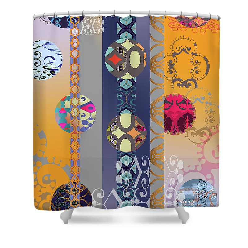 Digital Shower Curtain featuring the digital art Pompoms 3 by Ceil Diskin