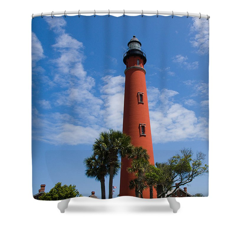 Ponce; De; Leon; Lighthouse; Light; House; Beacon; Navigation; Aid; Lens; Fresnel; Mosquito; Florida Shower Curtain featuring the photograph Ponce De Leon Inlet Lighthouse by Allan Hughes