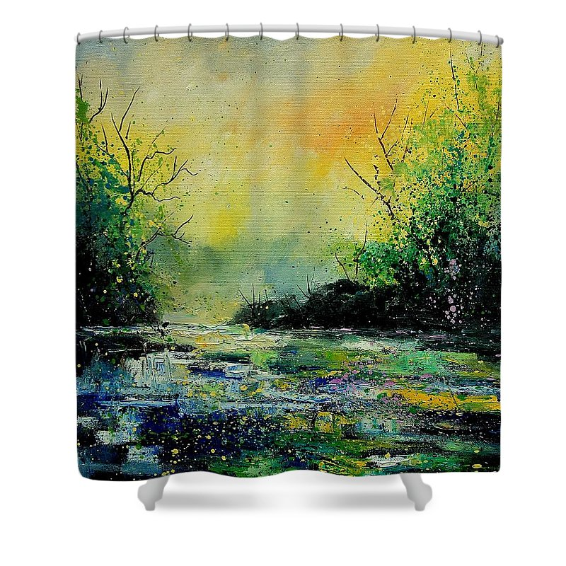 Water Shower Curtain featuring the painting Pond 459060 by Pol Ledent