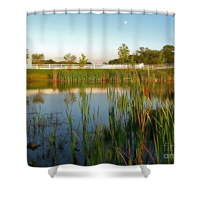 Landscape Shower Curtain featuring the photograph Pond At Sunset by Todd Blanchard