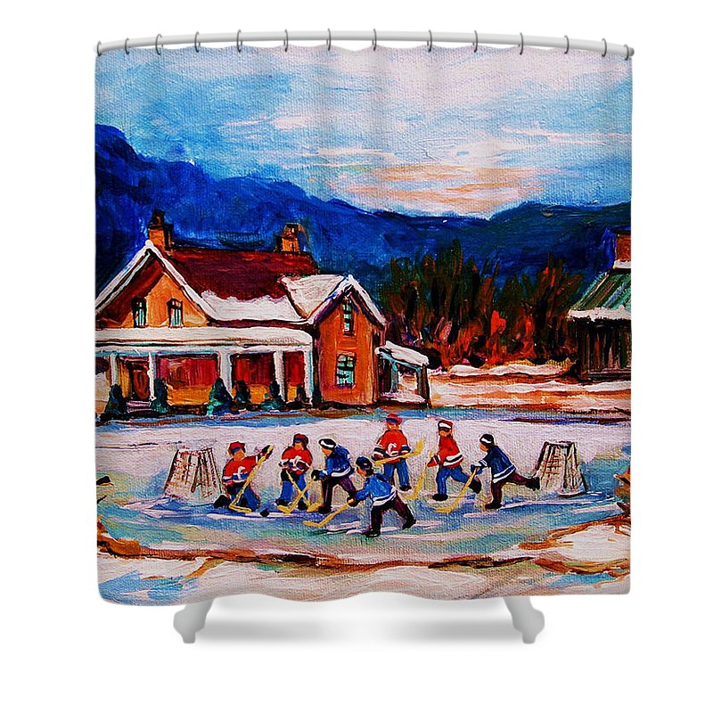 Hockey Shower Curtain featuring the painting Pond Hockey by Carole Spandau