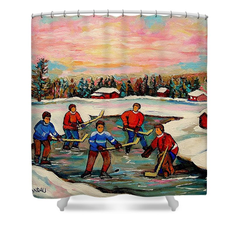 Montreal Shower Curtain featuring the painting Pond Hockey Countryscene by Carole Spandau