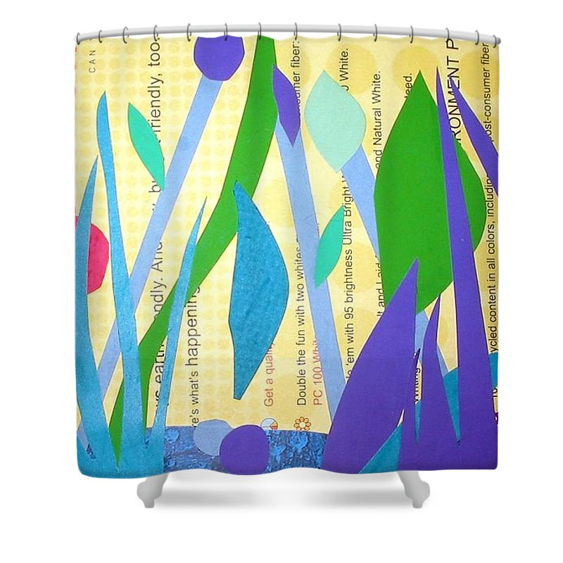 Landscape Shower Curtain featuring the mixed media Pond Life by Debra Bretton Robinson