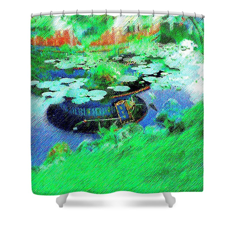 Lily Pads Shower Curtain featuring the photograph Pond Reflection by Nora Martinez