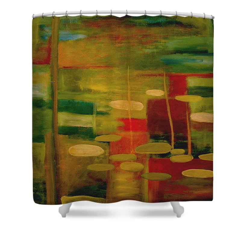 Pond Shower Curtain featuring the painting Pond Reflections by Jun Jamosmos