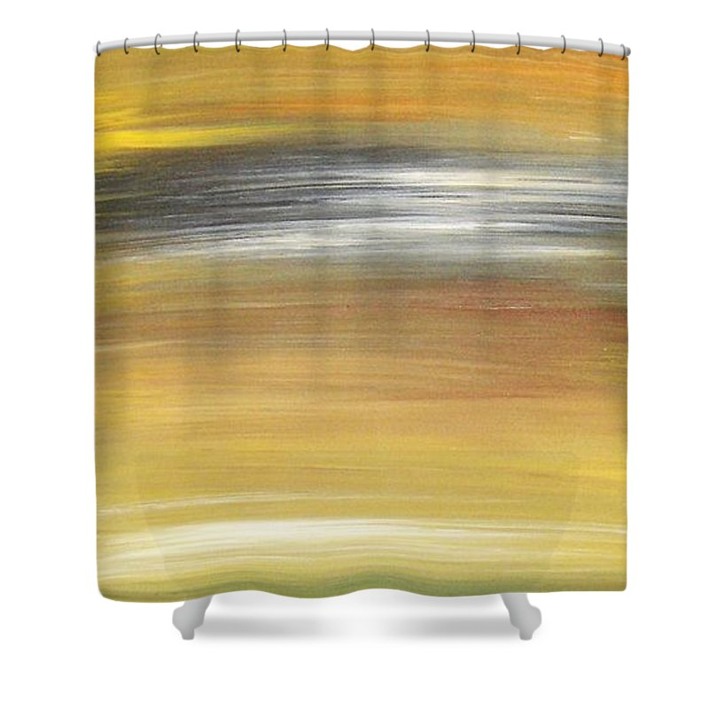 Waves Shower Curtain featuring the painting Pond by Todd Hoover