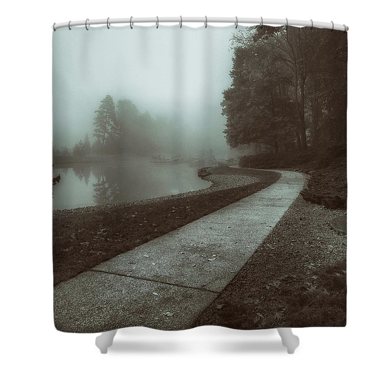Pond Shower Curtain featuring the photograph Pond Walk In Black And White by Tom Mc Nemar