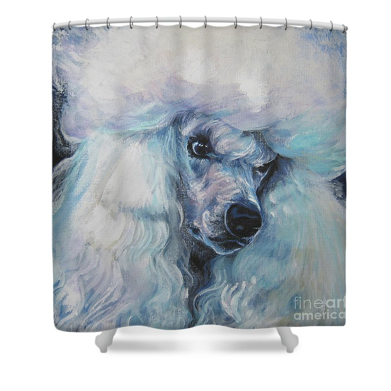 Dog Shower Curtain Featuring The Painting Poodle White Standard By Lee Ann Shepard