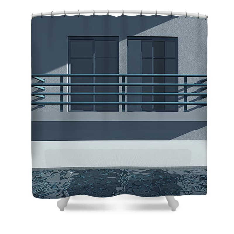 Abstract Shower Curtain featuring the digital art Pool Side by Richard Rizzo