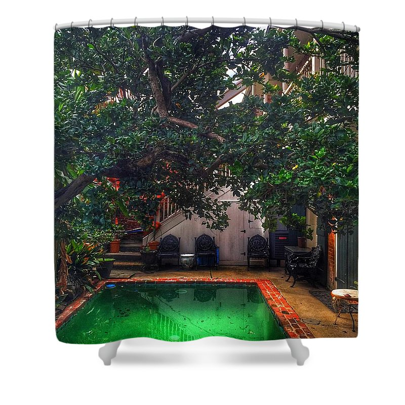 Shower Curtain featuring the photograph Pool With Tree by Mark Pritchard