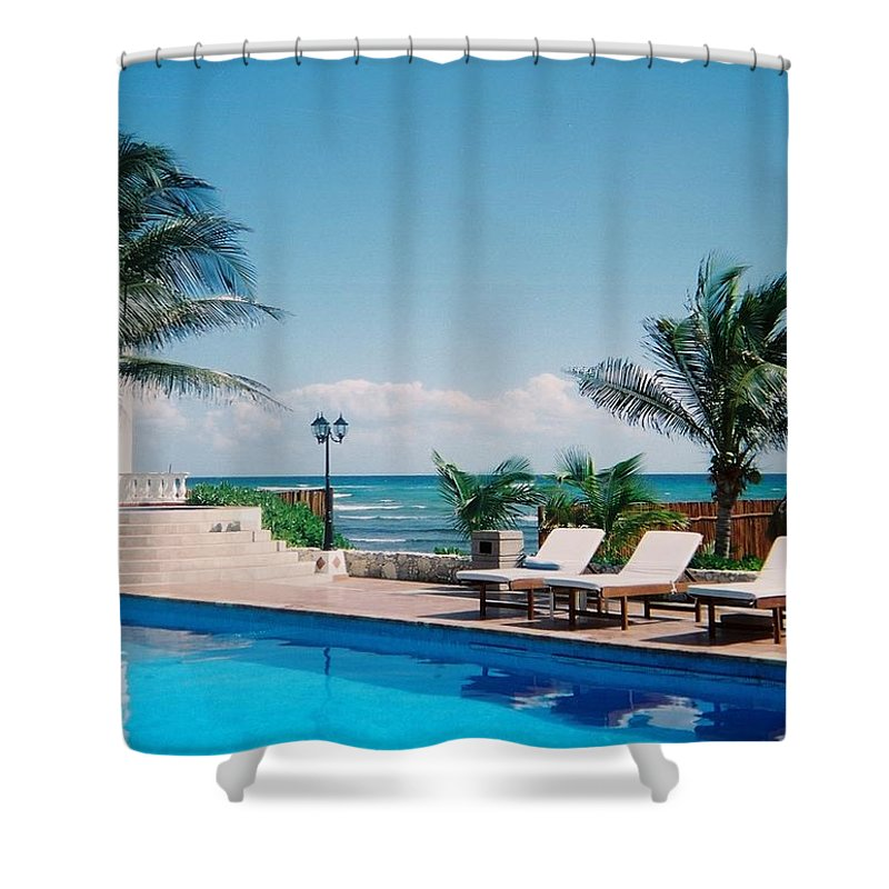 Resort Shower Curtain featuring the photograph Poolside by Anita Burgermeister