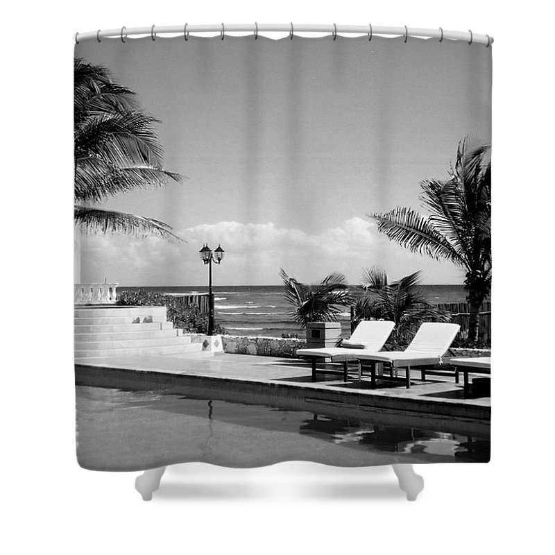 Swimming Pool Shower Curtain featuring the photograph Poolside B-w by Anita Burgermeister