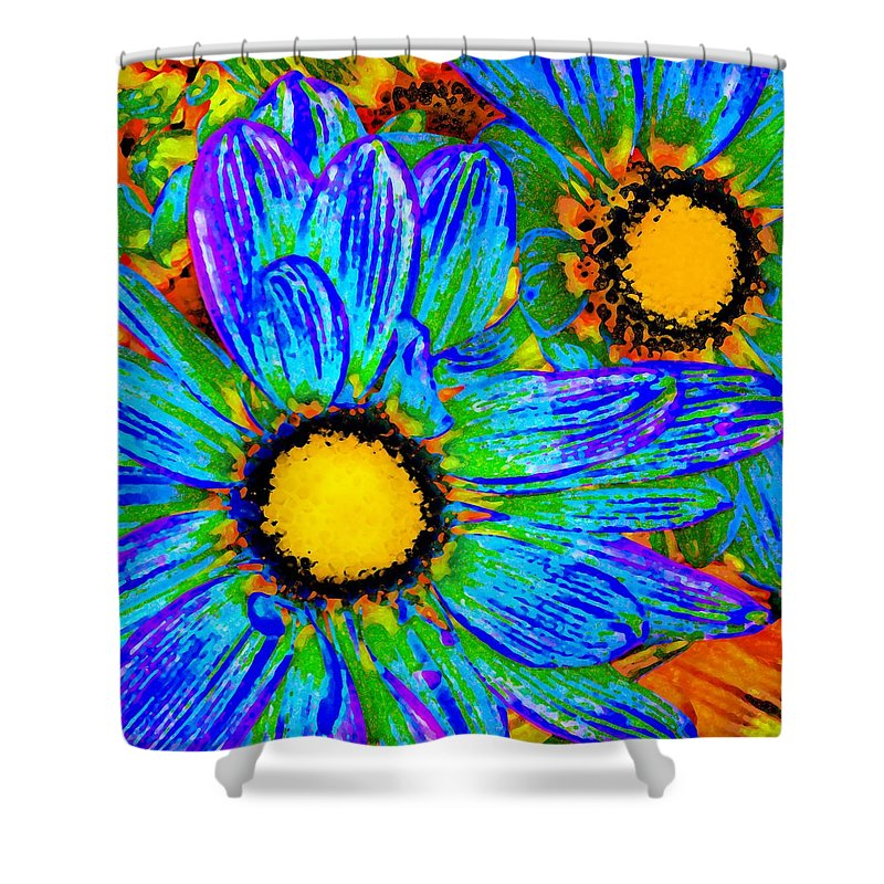 Pop Daisy Shower Curtain featuring the painting Pop Art Daisies 4 by Amy Vangsgard