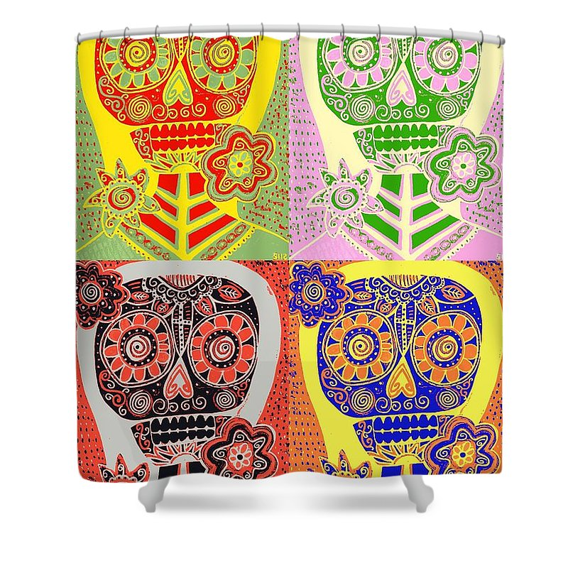 Shower Curtain Featuring The Painting Pastel Pop Art Sugar Skulls By Sandra Silberzweig