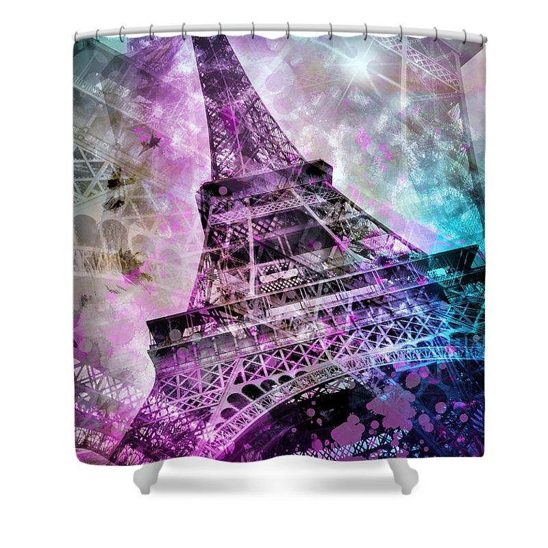 Europe Shower Curtain featuring the photograph Pop Art Eiffel Tower by Melanie Viola