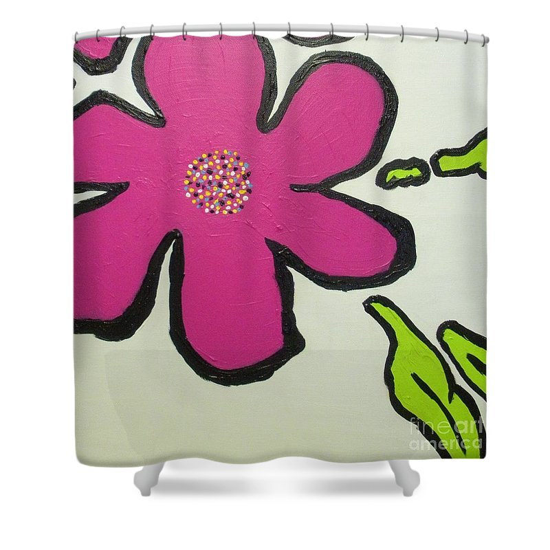 Flower Shower Curtain featuring the painting Pop Art Pansy by Maria Bonnier-Perez