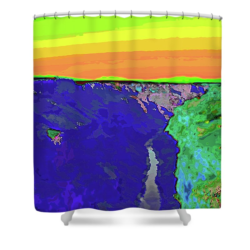 Santa Shower Curtain featuring the digital art Pop Gorge by Charles Muhle