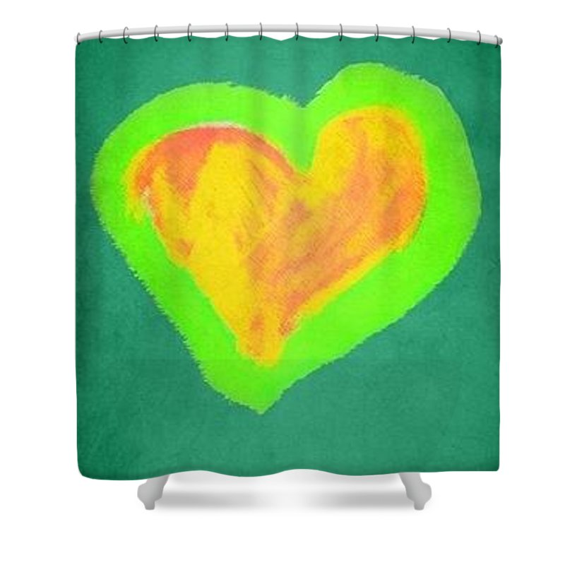 Heart Shower Curtain featuring the painting Pop Heart - Green by Empowered Creative Fine Art