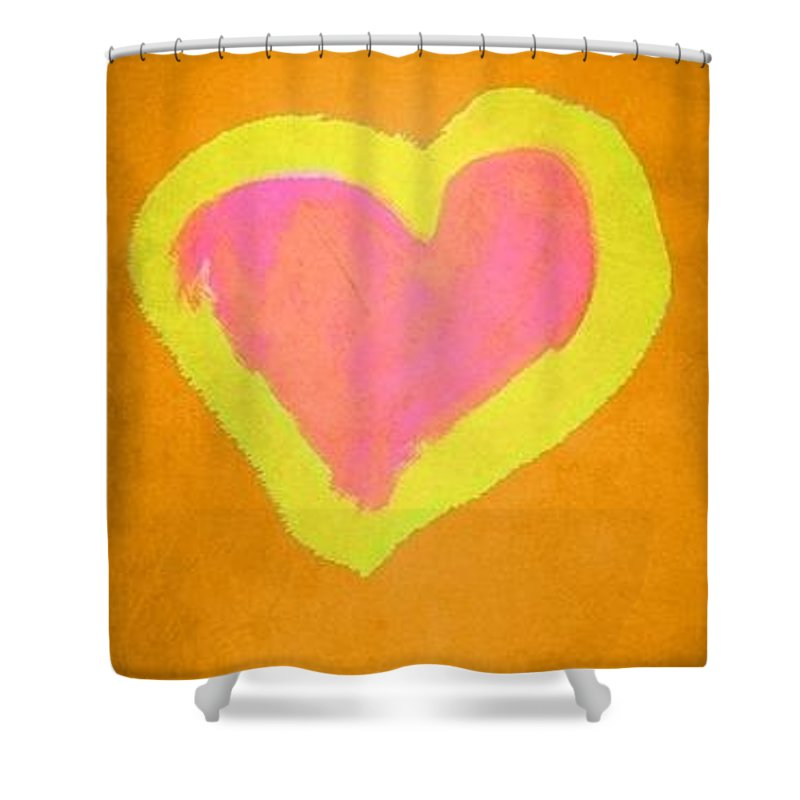Orange Shower Curtain featuring the painting Pop Heart - Orange by Empowered Creative Fine Art