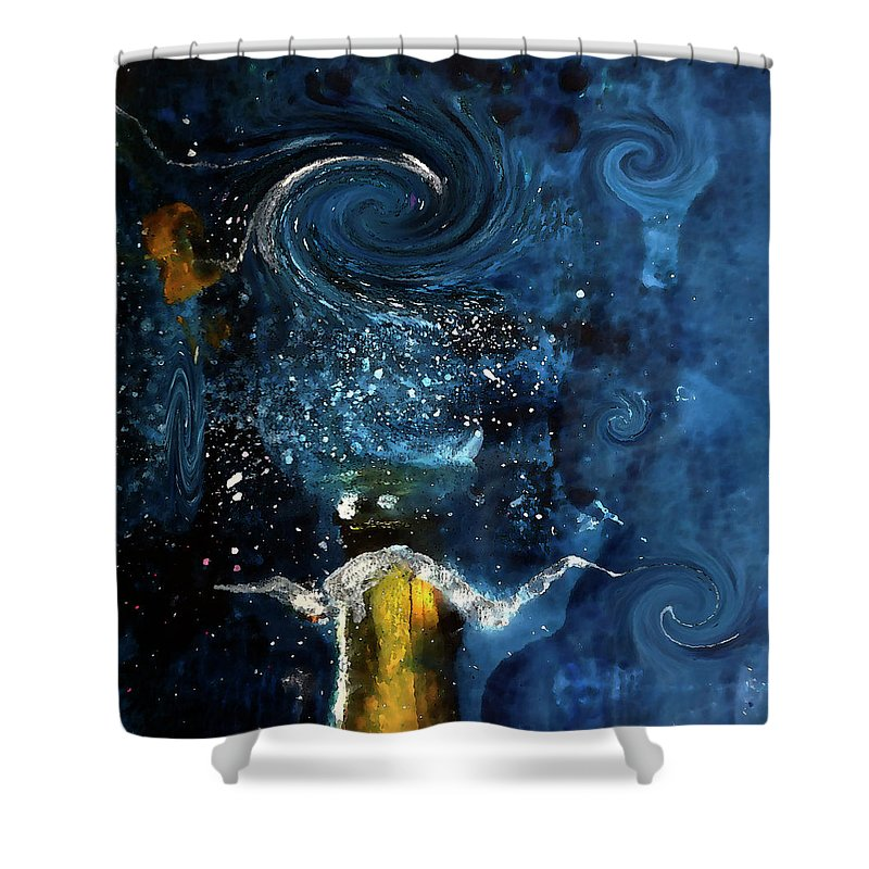 Champagne Shower Curtain featuring the digital art Pop The Champagne Top By Lisa Kaiser by Lisa Kaiser