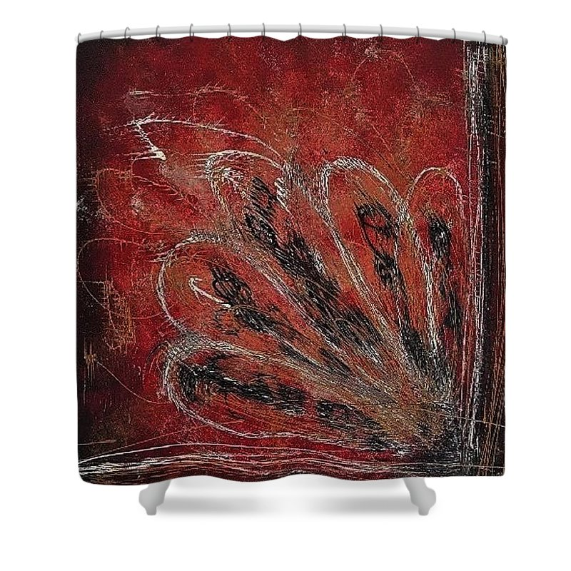 Original Shower Curtain featuring the painting Pop-up Book by Erin Domenko