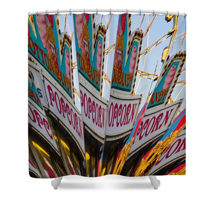 Concession Stand Shower Curtain featuring the photograph Popcorn by Skip Hunt