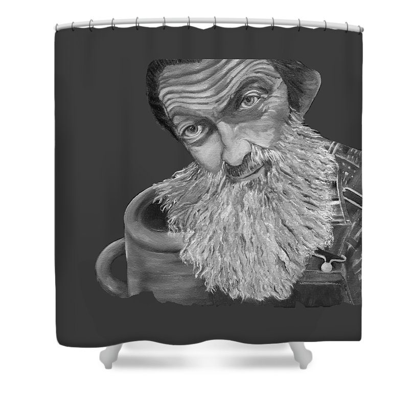 T-shirts Shower Curtain featuring the painting Popcorn Sutton Black And White Transparent - T-shirts by Jan Dappen