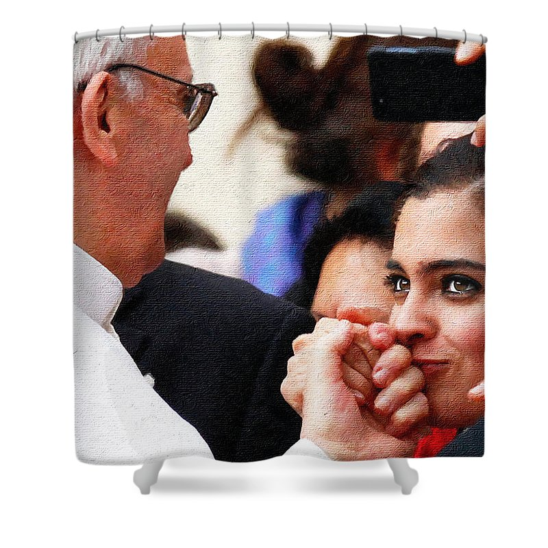 Pope Francis. American Visit Shower Curtain featuring the painting Pope Francis And Woman Painting by Tony Rubino