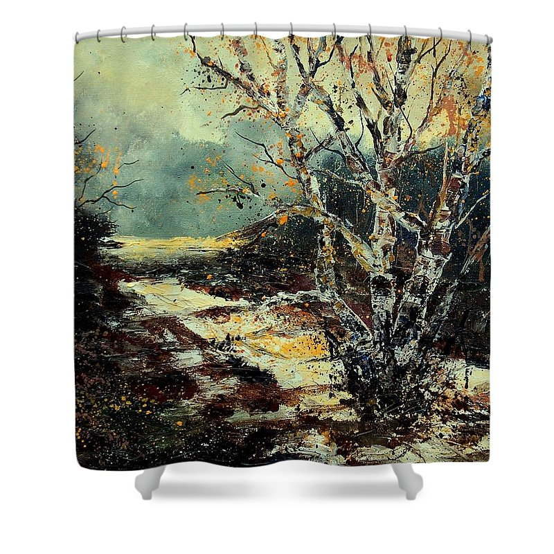 Tree Shower Curtain featuring the painting Poplars 45 by Pol Ledent