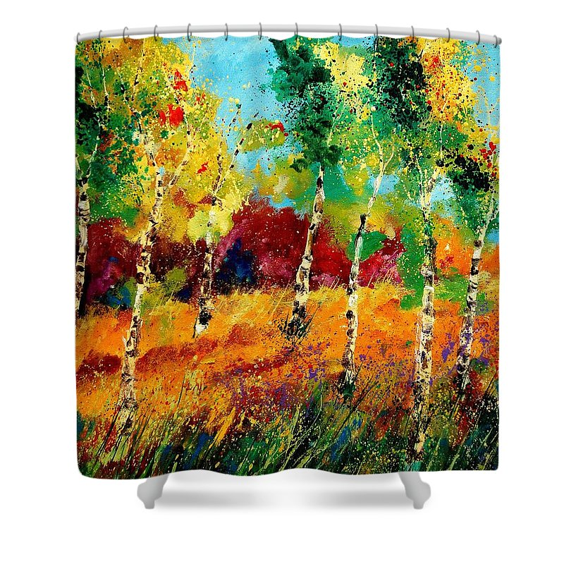 Poppy Shower Curtain featuring the painting Poplars '459070 by Pol Ledent