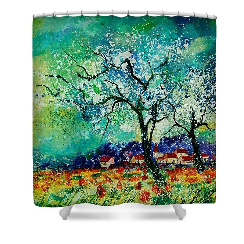Landscape Shower Curtain featuring the painting Poppies And Appletrees In Blossom by Pol Ledent