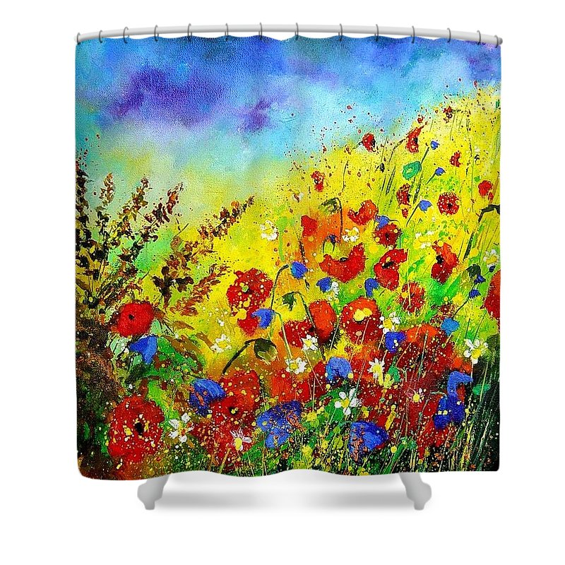 Poppies Shower Curtain featuring the print Poppies And Blue Bells by Pol Ledent