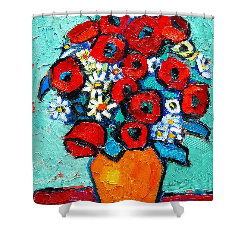 Floral Shower Curtain featuring the painting Poppies And Daisies Bouquet by Ana Maria Edulescu
