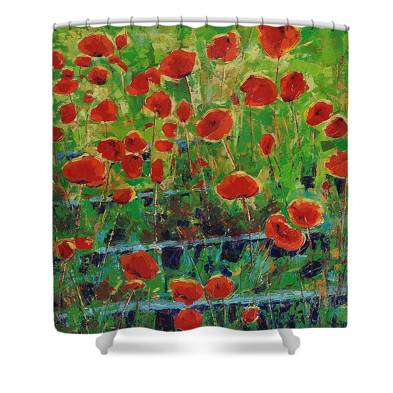 Poppies Shower Curtain featuring the painting Poppies And Traverses 1 by Iliyan Bozhanov
