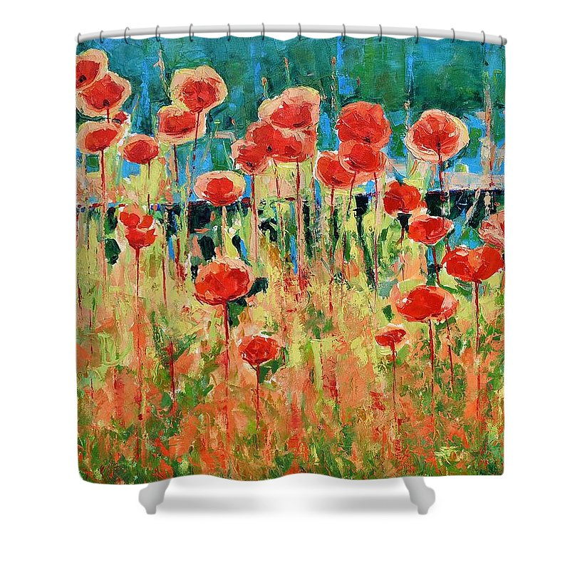 Poppies Shower Curtain featuring the painting Poppies And Traverses 2 by Iliyan Bozhanov