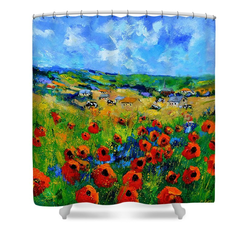 Landscape Shower Curtain featuring the painting Poppies in Ieper by Pol Ledent