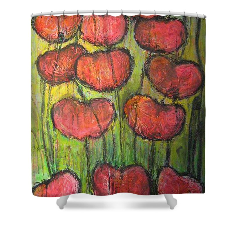 Poppies Shower Curtain featuring the painting Poppies In Oil by Laurie Maves ART