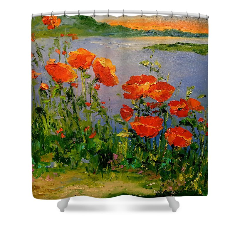 Poppies Near The River Shower Curtain featuring the painting Poppies Near The River by Olha Darchuk