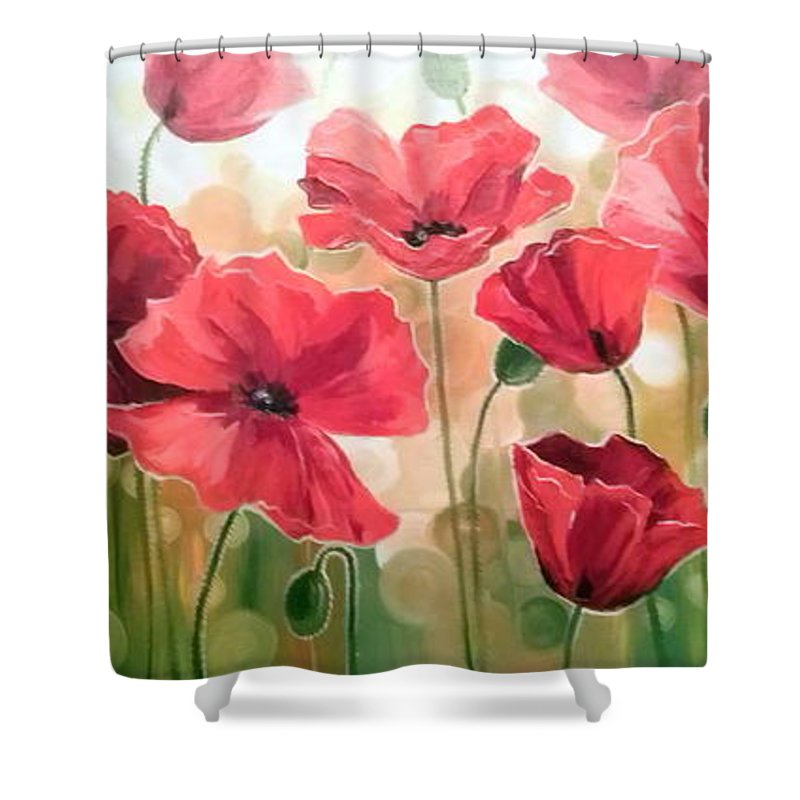 Poppies Oil Painting On Canvas On Cardboard Shower Curtain featuring the painting Poppies by Olha Darchuk