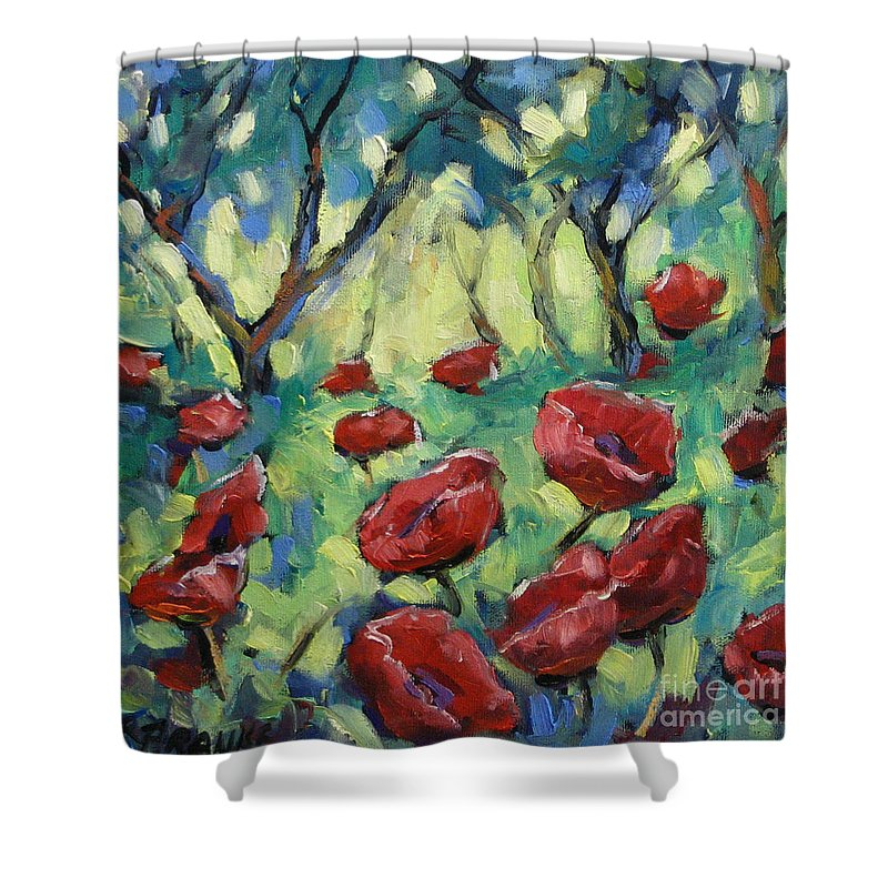 Art Shower Curtain featuring the painting Poppies Through The Forest by Richard T Pranke
