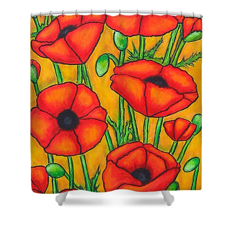 Poppies Shower Curtain featuring the painting Poppies Under The Tuscan Sun by Lisa Lorenz