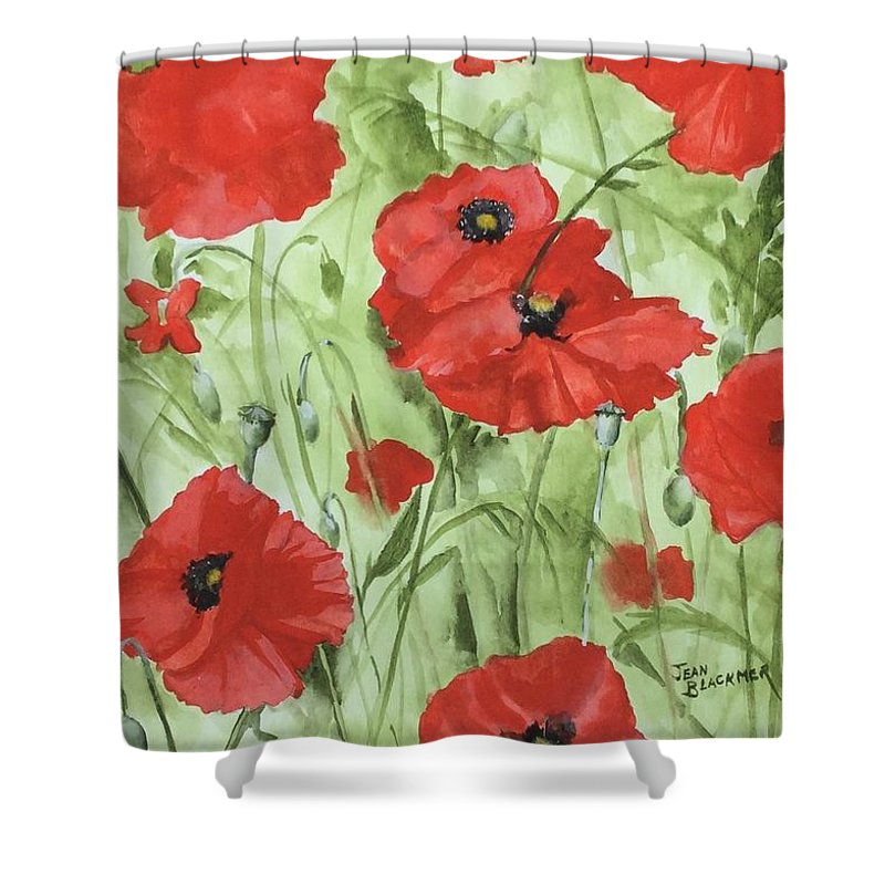 Red Shower Curtain featuring the painting Poppy Field 1 by Jean Blackmer