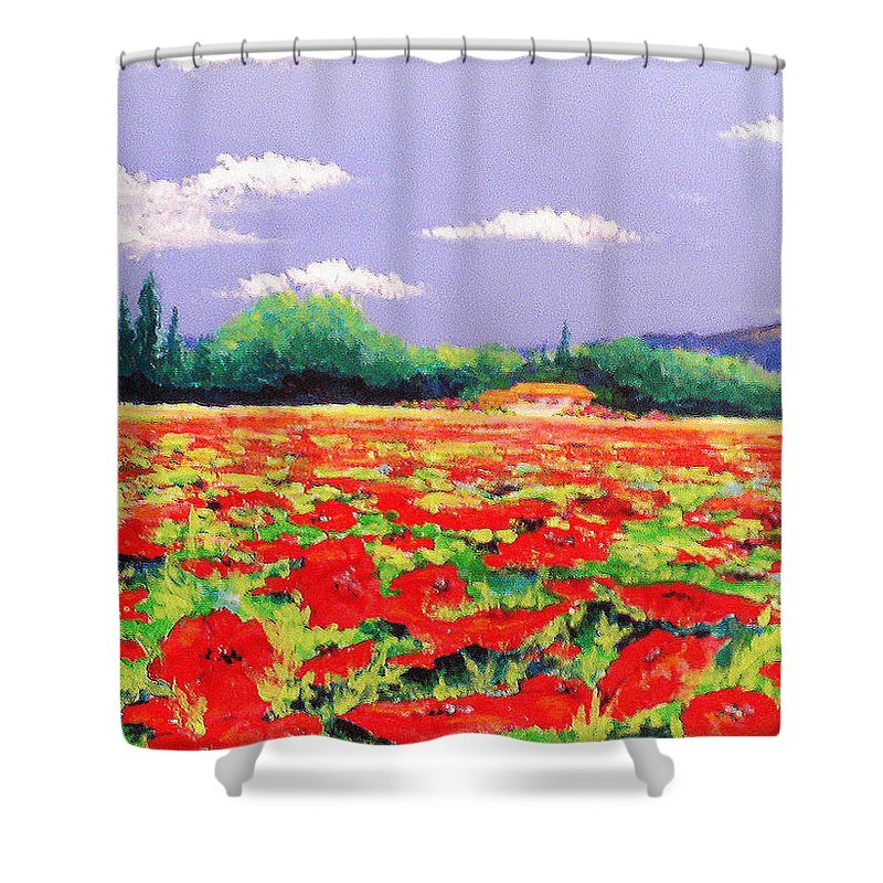 Poppy Shower Curtain featuring the painting Poppy Field by Anne Marie Brown