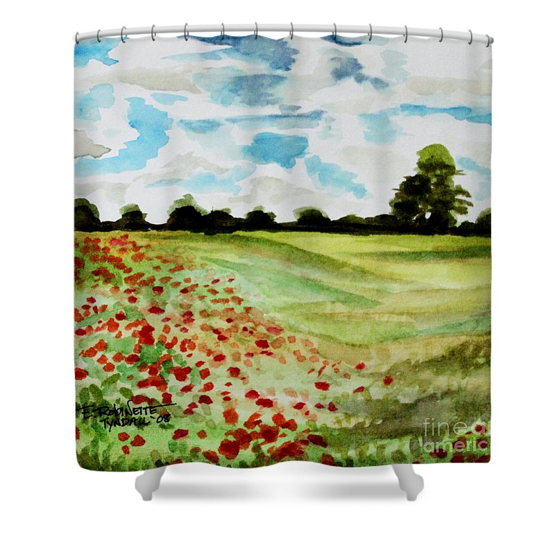 Landscape Shower Curtain featuring the painting Poppy Meadow by Elizabeth Robinette Tyndall
